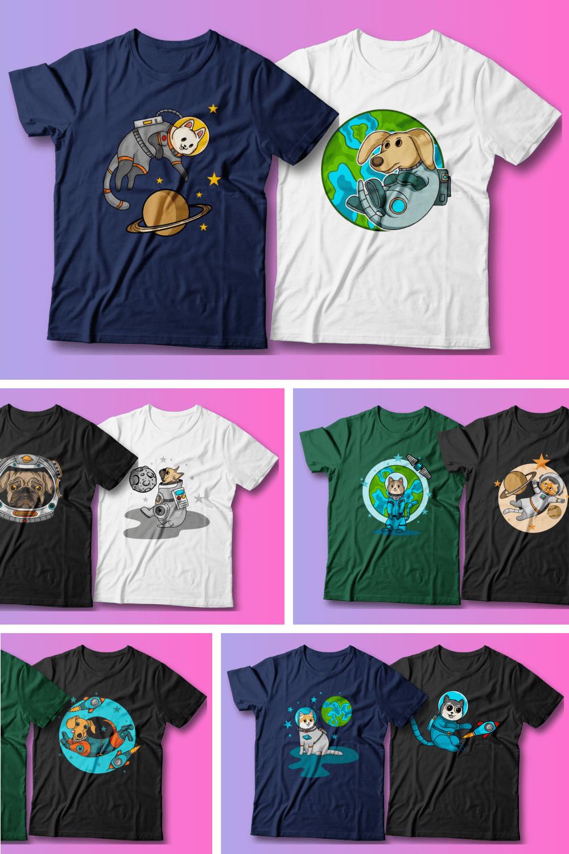 25 Astronaut Cartoon T-shirt Designs Bundle - MasterBundles - Pinterest Collage Image.