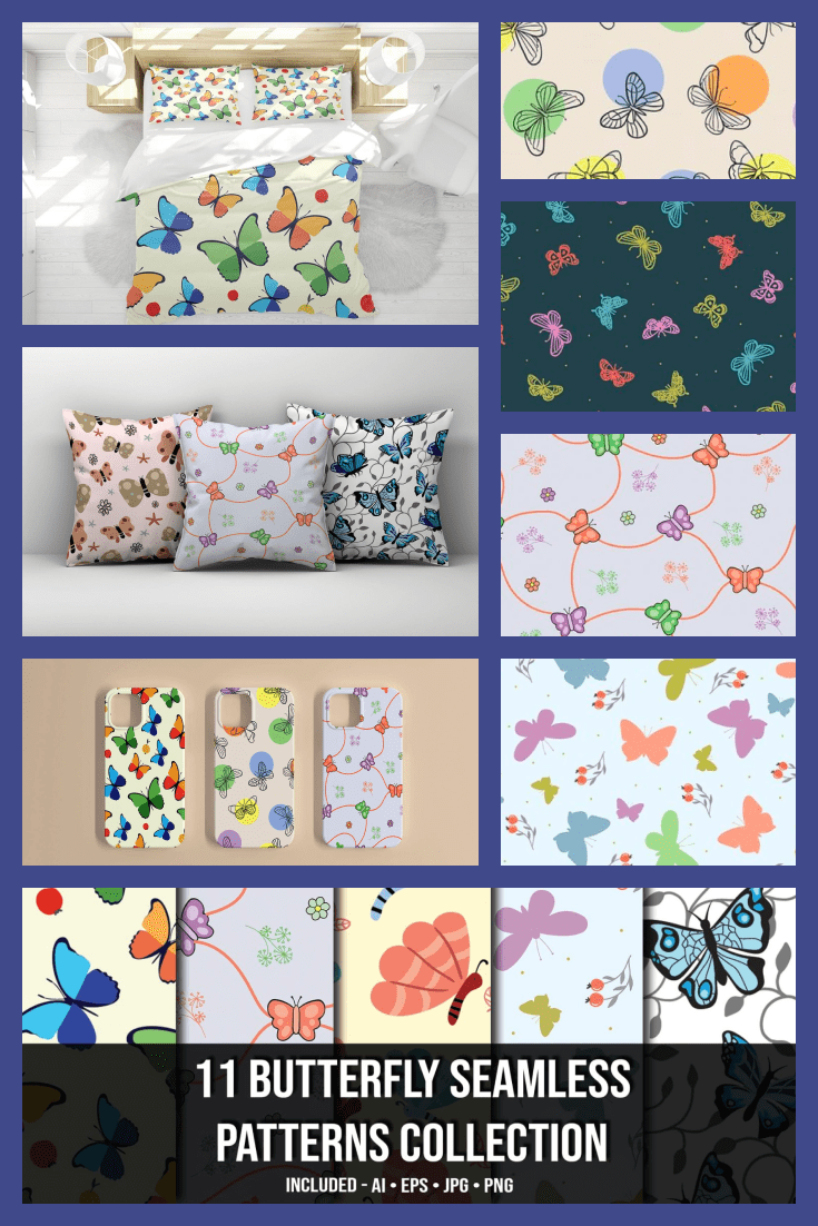 11+ Butterfly Seamless Patterns Collection - MasterBundles - Pinterest Collage Image.