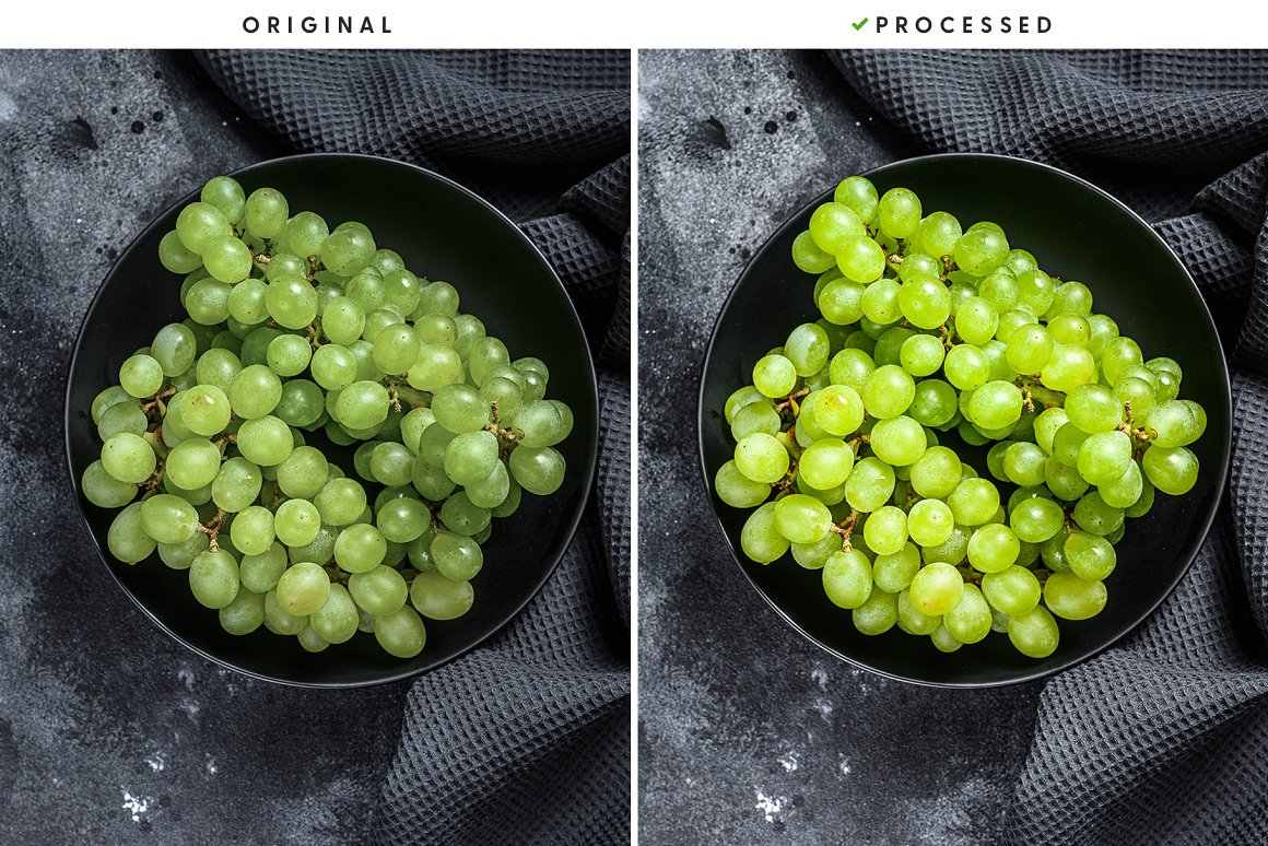 Green grapes in an arthouse style.