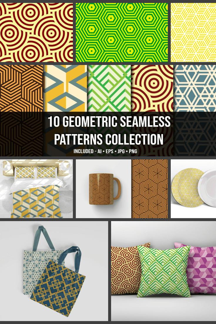 10+ Geometric Seamless Patterns Collection - MasterBundles - Pinterest Collage Image.