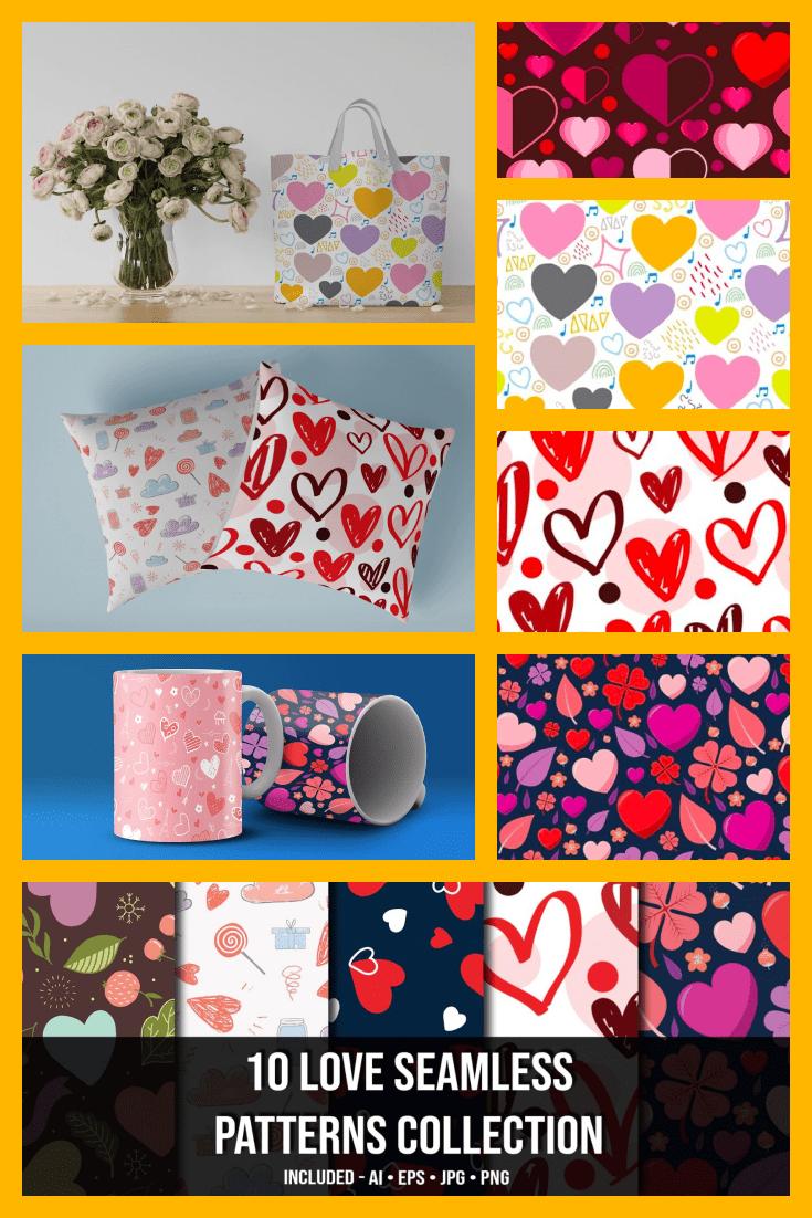 💝 10+ Love Seamless Patterns Collection - MasterBundles - Pinterest Collage Image.