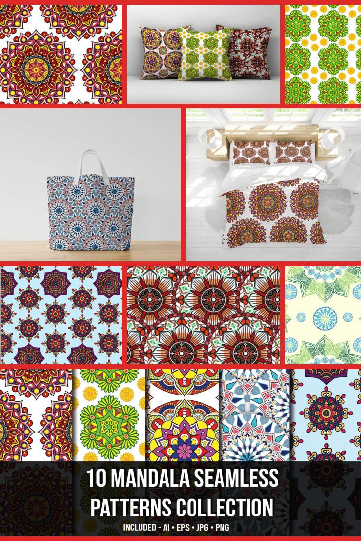 10+ Mandala Seamless Patterns Collection - MasterBundles - Pinterest Collage Image.