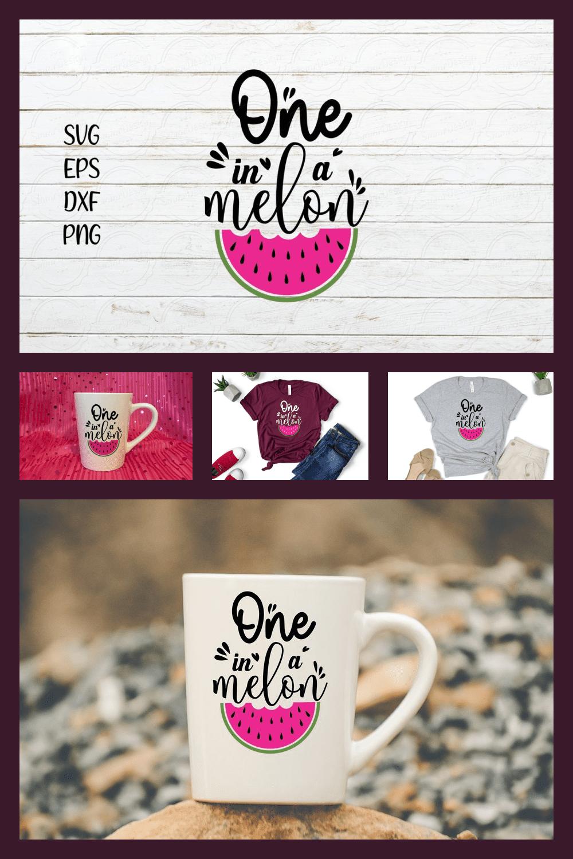 """One in a melon"" SVG Bundle:  Summer Melon - MasterBundles - Pinterest Collage Image."