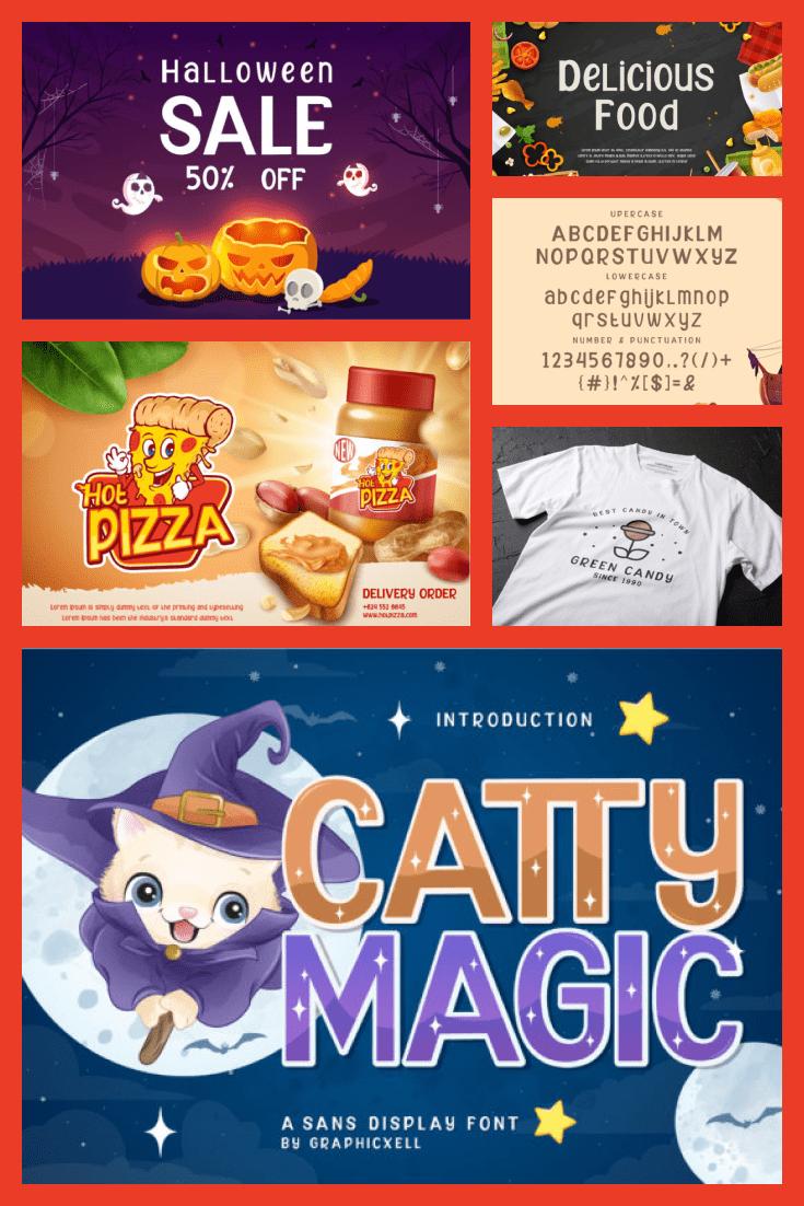 Catty Magic Batman Font - MasterBundles - Pinterest Collage Image.