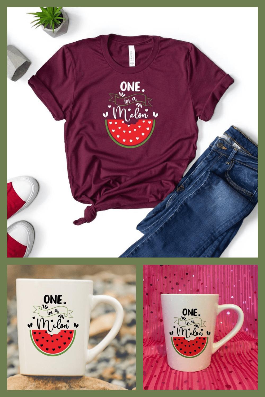 Summer SVG: One in a Melon Svg - MasterBundles - Pinterest Collage Image.