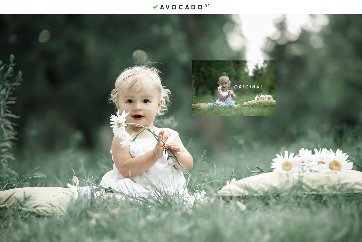 Children's photography in a field with daisies.