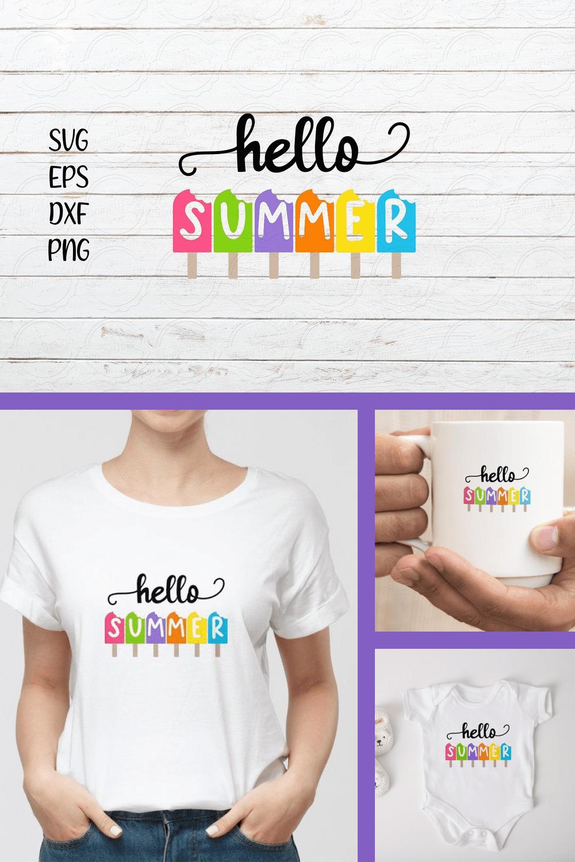Hello Summer SVG Design - MasterBundles - Pinterest Collage Image.