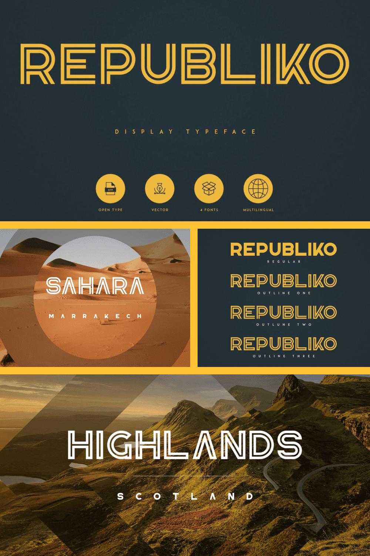 Republiko - Display Typeface - MasterBundles - Pinterest Collage Image.
