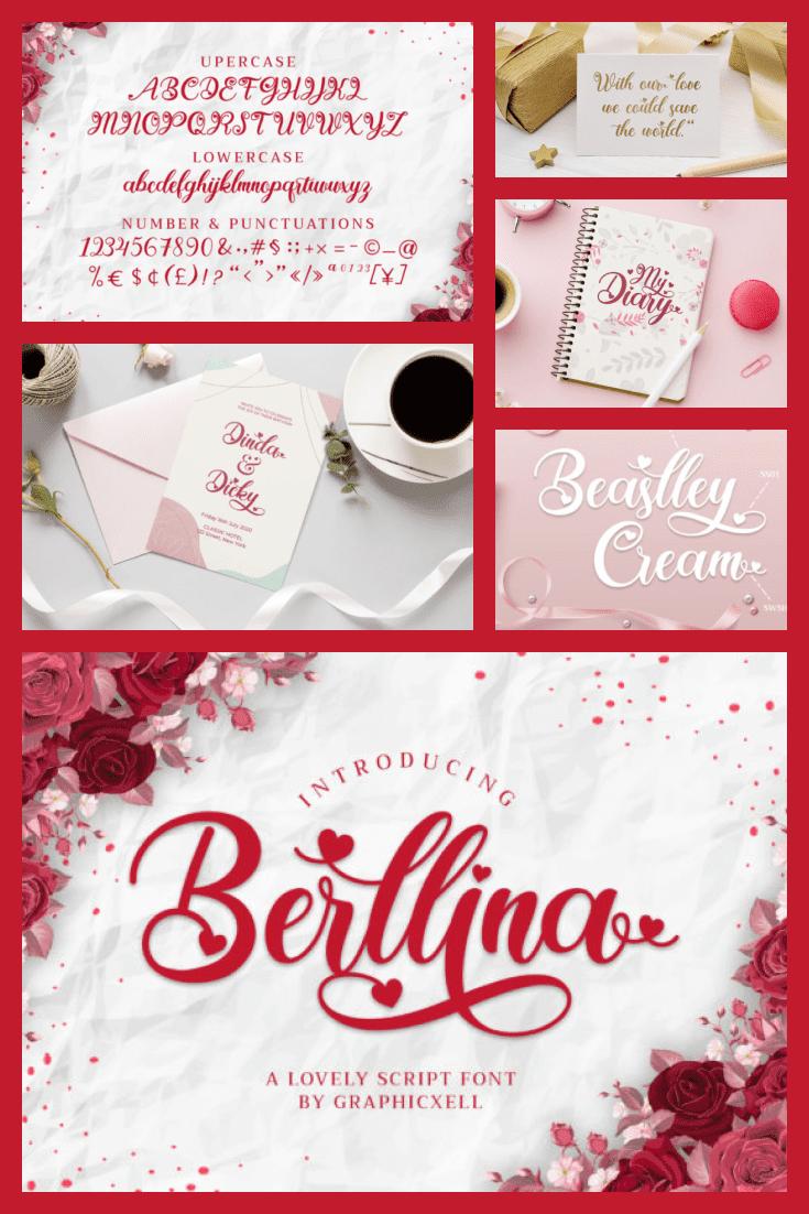 Berllina Love Sculpture Font - MasterBundles - Pinterest Collage Image.