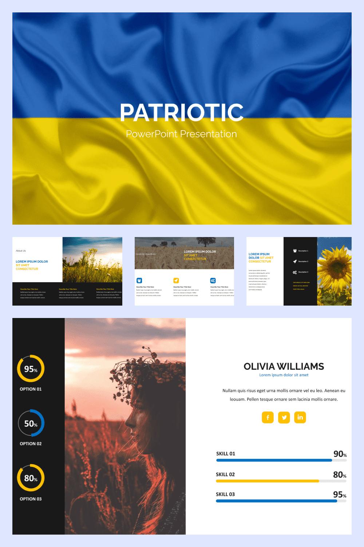 Ukrainian Patriotism PowerPoint Template - MasterBundles - Pinterest Collage Image.