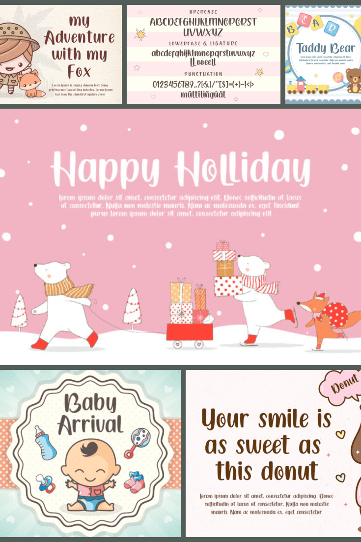 Baby Queen Cartoon Font - MasterBundles - Pinterest Collage Image.