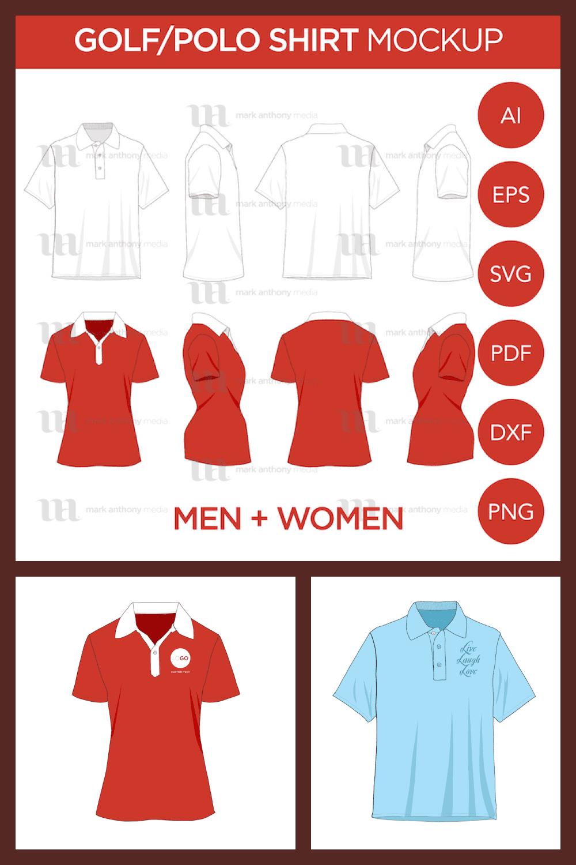 Polo Shirt Mockup Template - MasterBundles - Pinterest Collage Image.