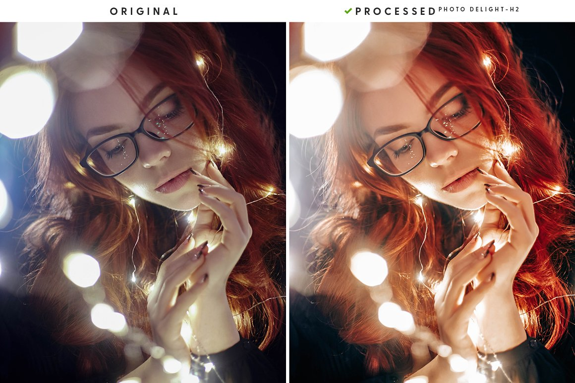 Red-haired girl wrapped in a garland.