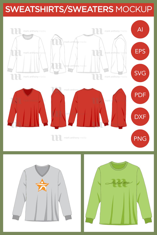 Sweater Mockup Template - MasterBundles - Pinterest Collage Image.