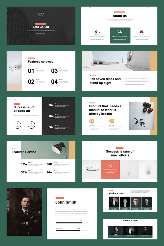 EZRA Business Minimal Template - MasterBundles - Pinterest Collage Image.