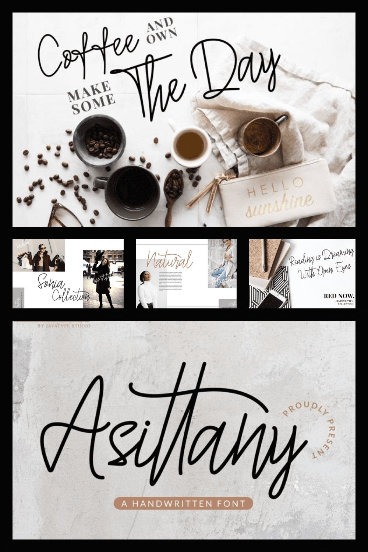 Assitany Script Monoline Font - MasterBundles - Pinterest Collage Image.