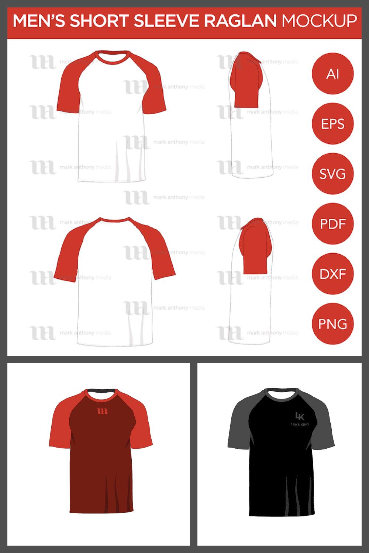 Raglan Men's Short Sleeve Shirt - MasterBundles - Pinterest Collage Image.