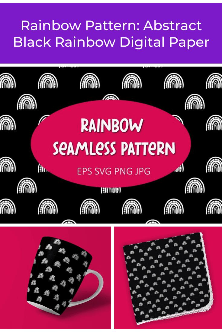 Rainbow Pattern: Abstract Black Rainbow Digital Paper - MasterBundles - Pinterest Collage Image.