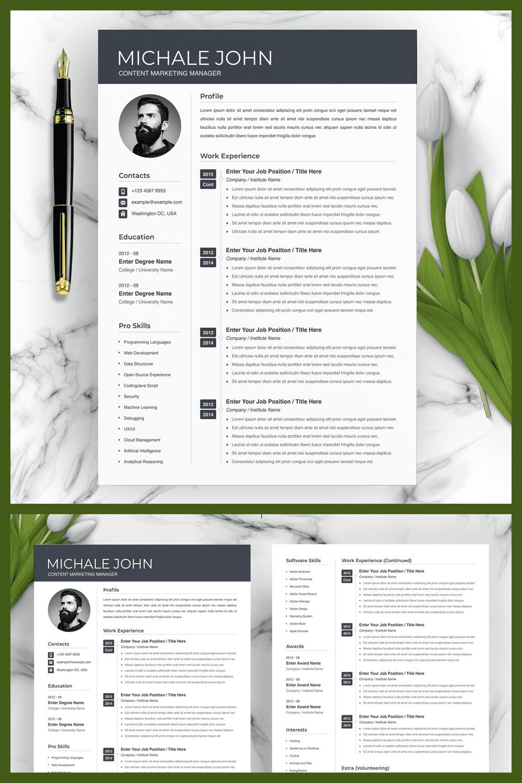 Resume Word Marketing Resume - MasterBundles - Pinterest Collage Image.