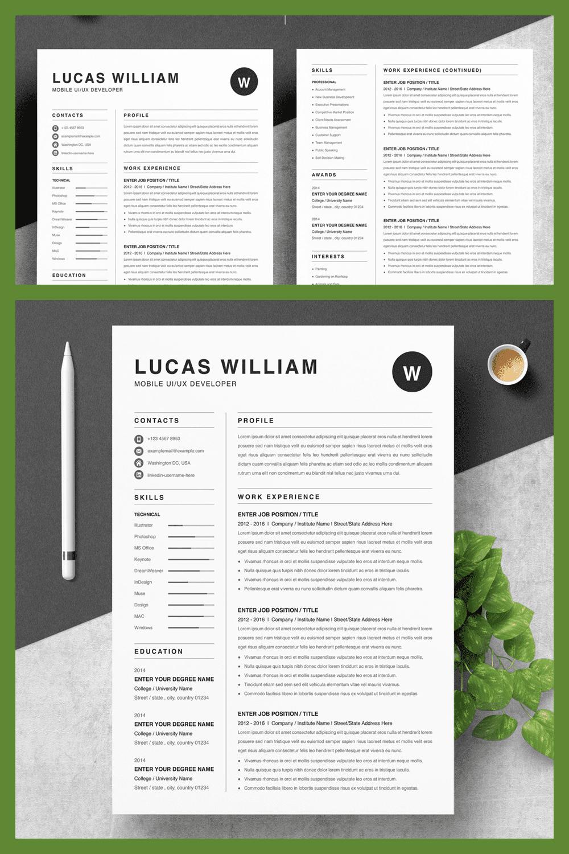 Resume Portfolio UI/UX Developer - MasterBundles - Pinterest Collage Image.