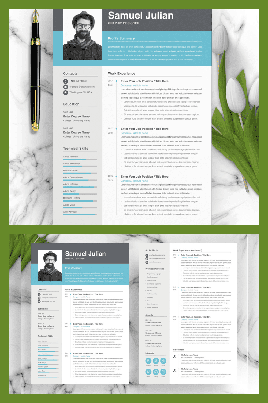 Graphic Designer Resume - MasterBundles - Pinterest Collage Image.