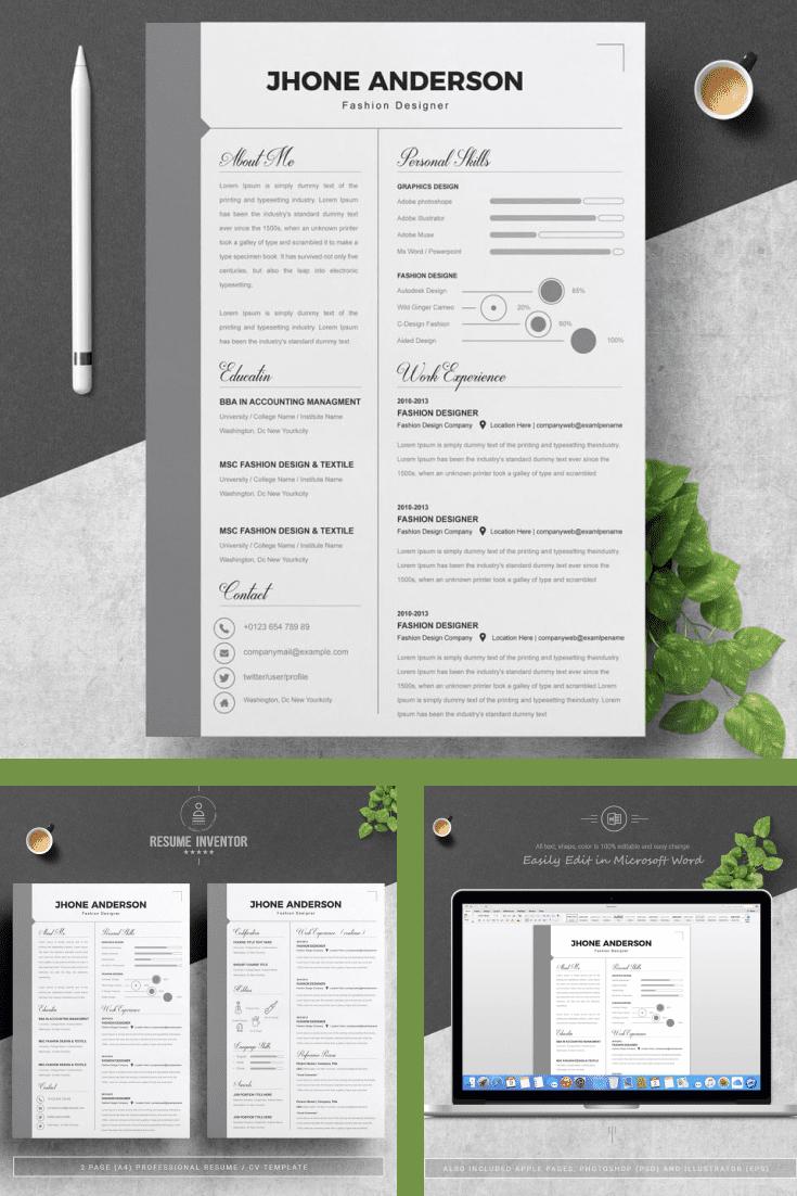 Minimal Resume Word Template - MasterBundles - Pinterest Collage Image.