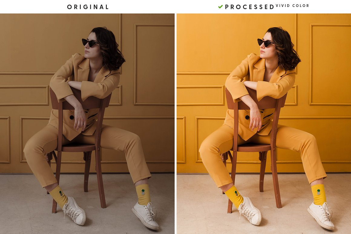 Stylish photoset in a yellow room with a girl in a yellow suit.