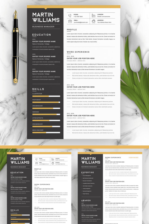 Resume Word/CV Word Pattern - MasterBundles - Pinterest Collage Image.