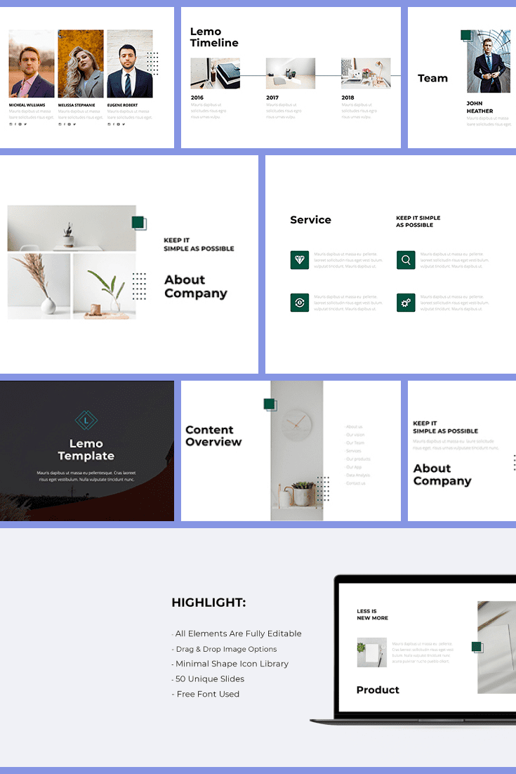 Lemo Business Minimal Template - MasterBundles - Pinterest Collage Image.