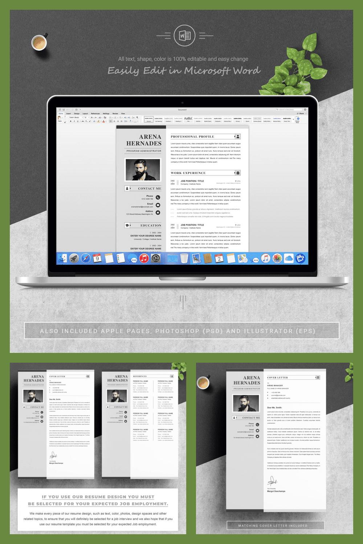 Modern Resume Template - MasterBundles - Pinterest Collage Image.