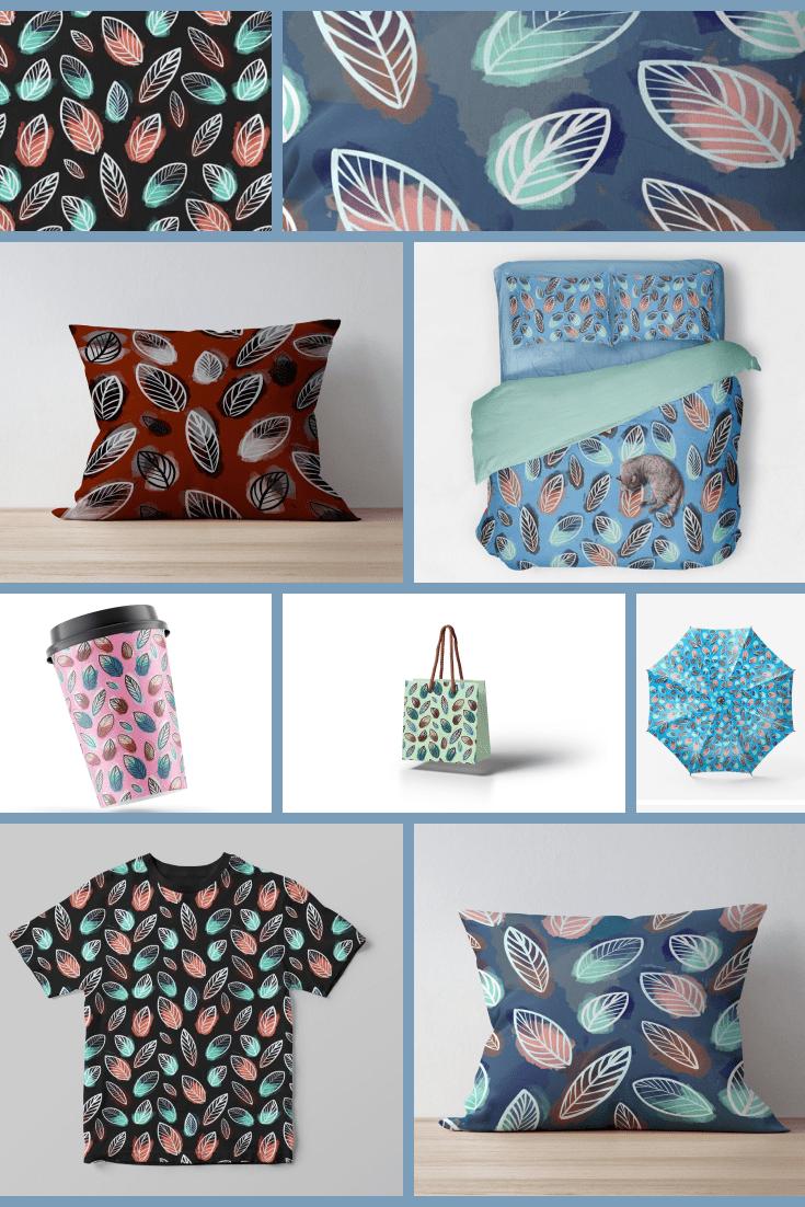 12 Incredible Leaves Patterns Collection - MasterBundles - Pinterest Collage Image.