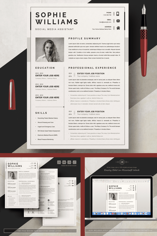 Simple Resume Design Template - MasterBundles - Pinterest Collage Image.