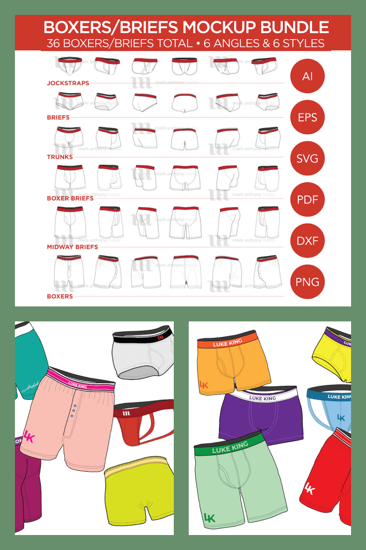 Boxer Briefs Mockup Template - MasterBundles - Pinterest Collage Image.