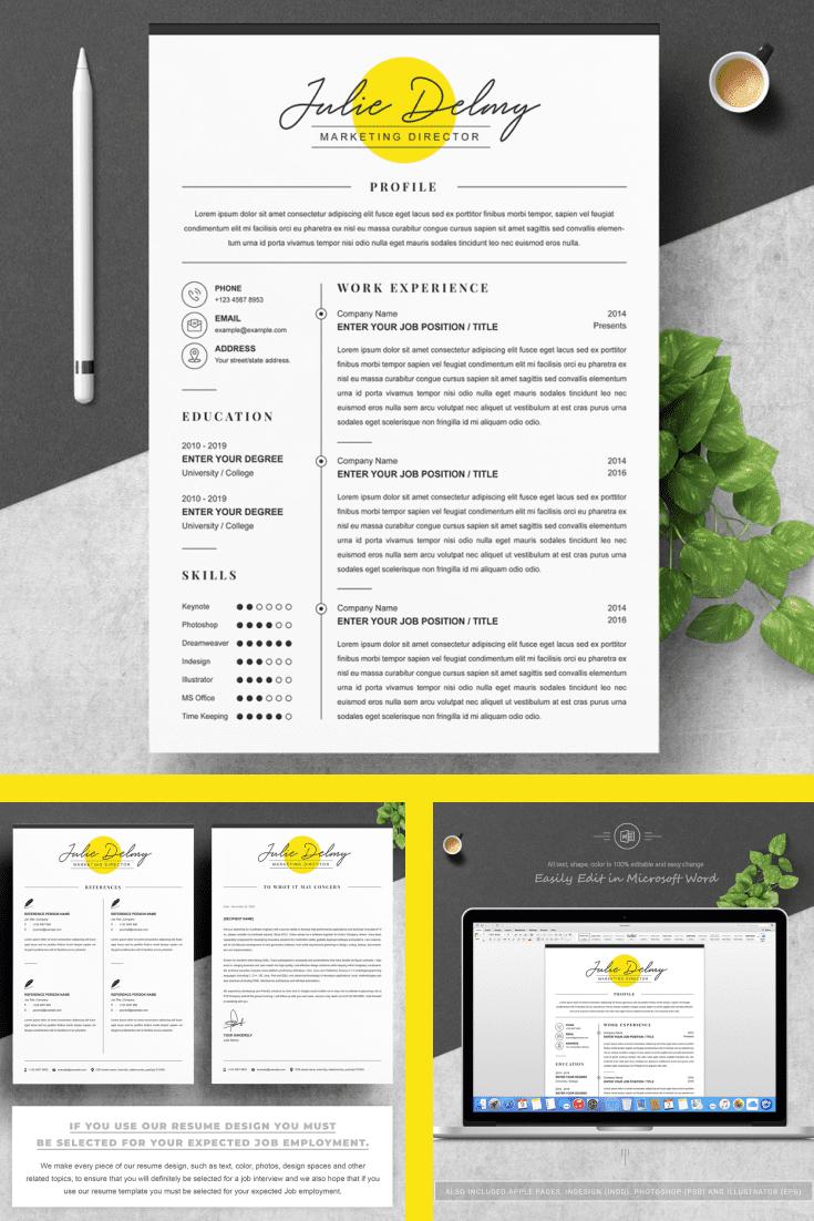 Marketing Director Resume Design Template - MasterBundles - Pinterest Collage Image.
