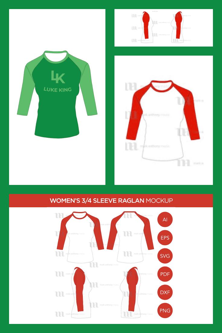 Raglan Women's 3/4 Sleeve Shirt - MasterBundles - Pinterest Collage Image.