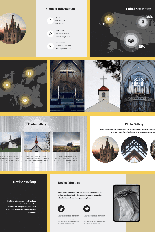 50 Slides Church Presentation Template 2021 - MasterBundles - Pinterest Collage Image.