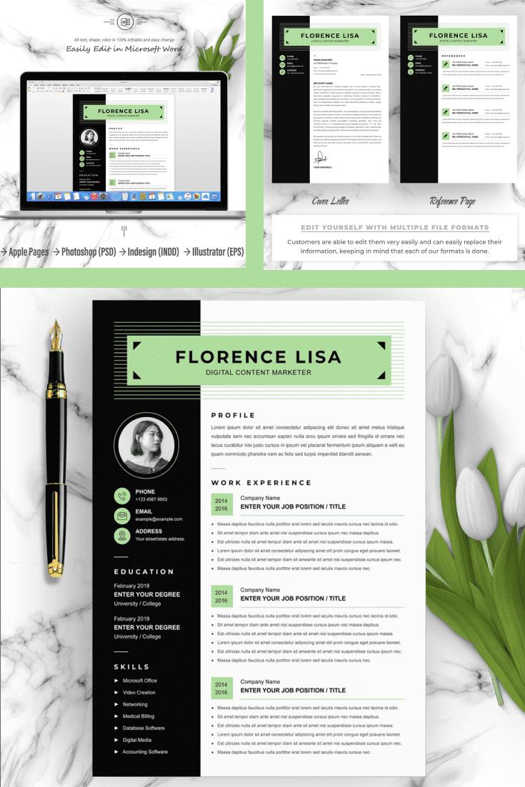 Digital Content Marketer Resume Template - MasterBundles - Pinterest Collage Image.