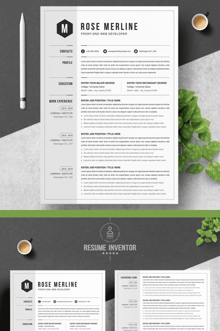 Front Developer Resume Template - MasterBundles - Pinterest Collage Image.