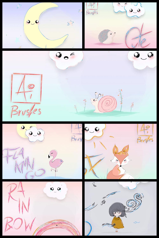 216 Pastel Cartoon Brushes for Adobe Illustrator - MasterBundles - Pinterest Collage Image.