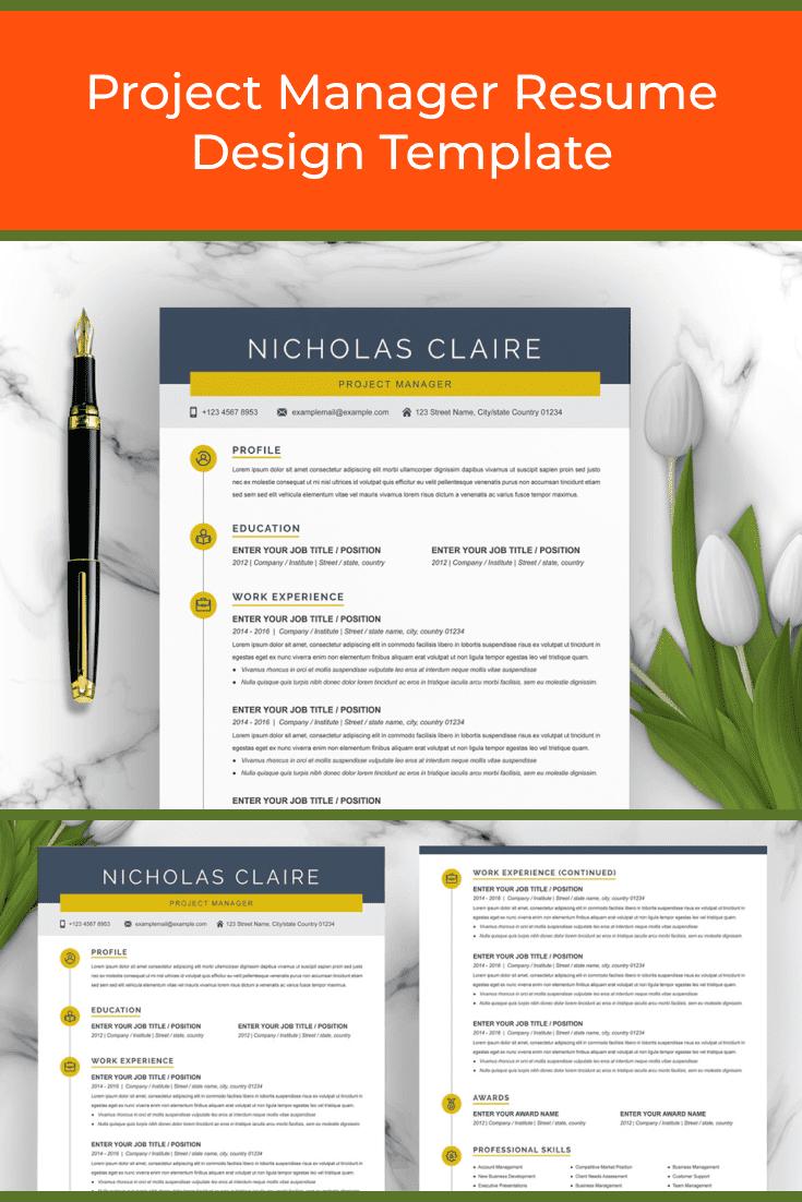 Project Manager Resume Design Template - MasterBundles - Pinterest Collage Image.