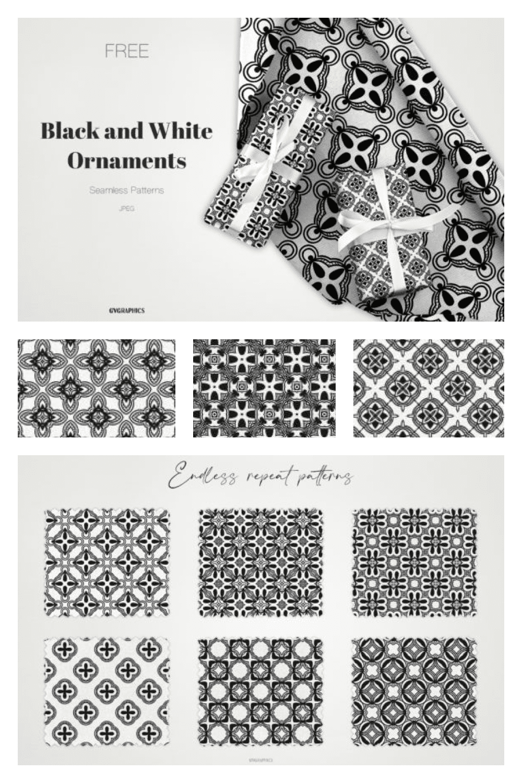 Black and White Ornaments Patterns - MasterBundles - Pinterest Collage Image.
