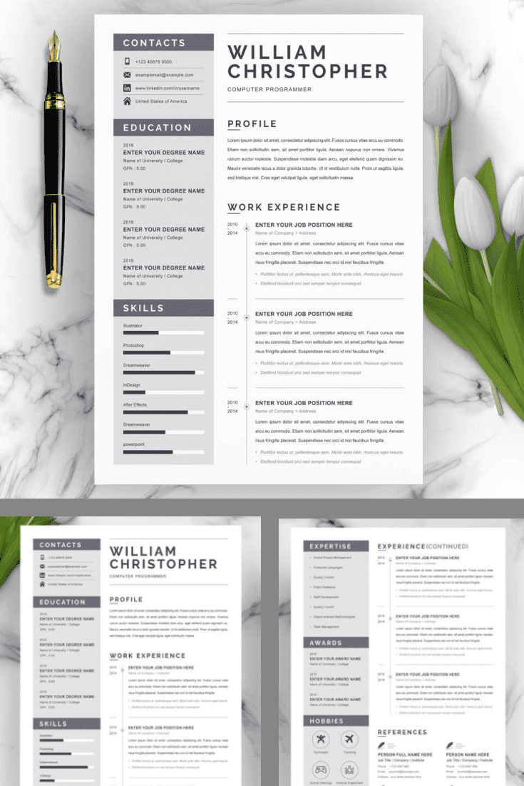 Computer Programmer Resume Template - MasterBundles - Pinterest Collage Image.