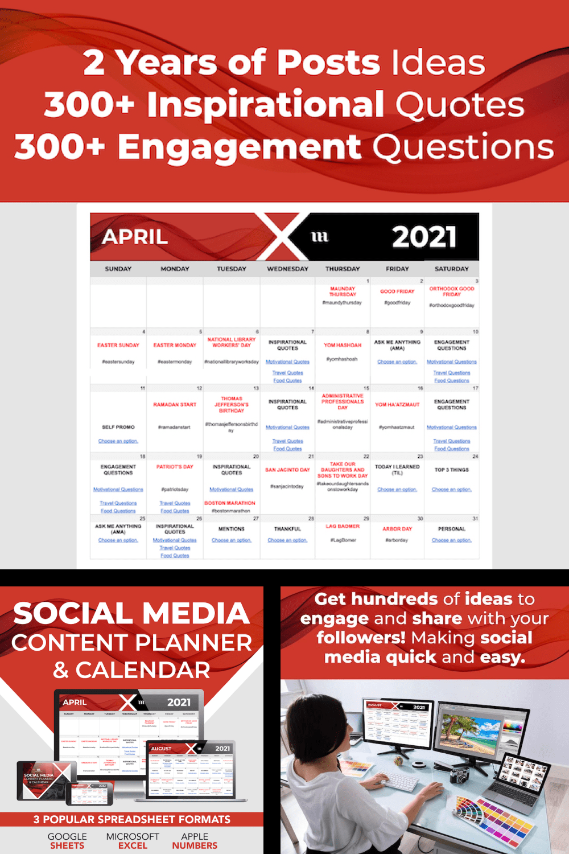 Social Media Content Planner & Calendar - MasterBundles - Pinterest Collage Image.