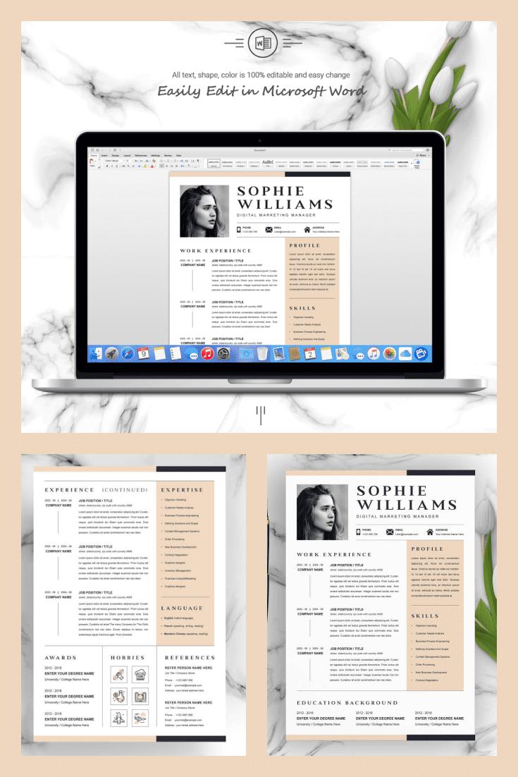 Digital Marketing Manager Resume Template - MasterBundles - Pinterest Collage Image.