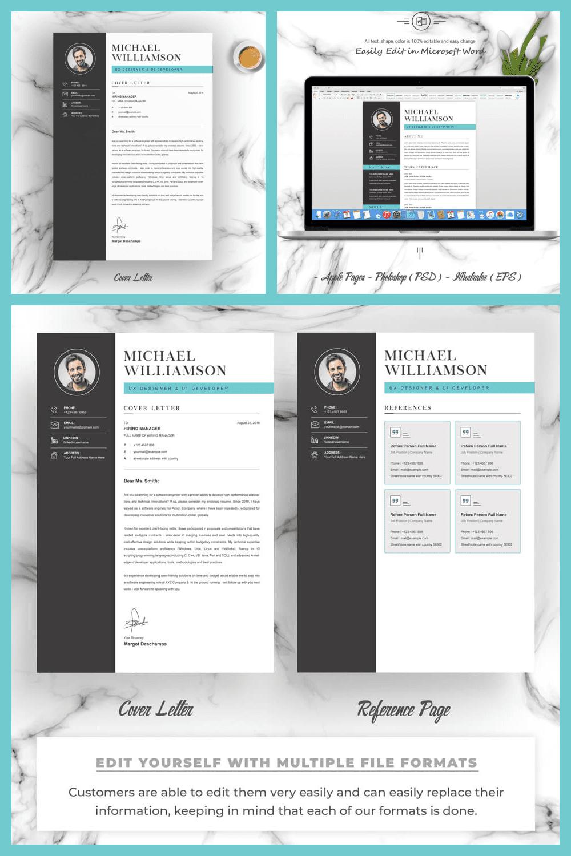 Simple Resume Design - MasterBundles - Pinterest Collage Image.