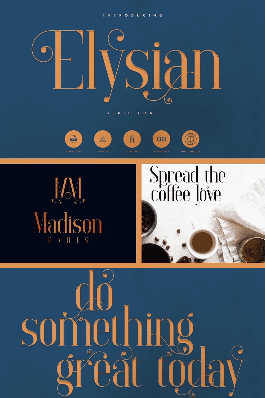 Elysian - Serif Font - MasterBundles - Pinterest Collage Image.