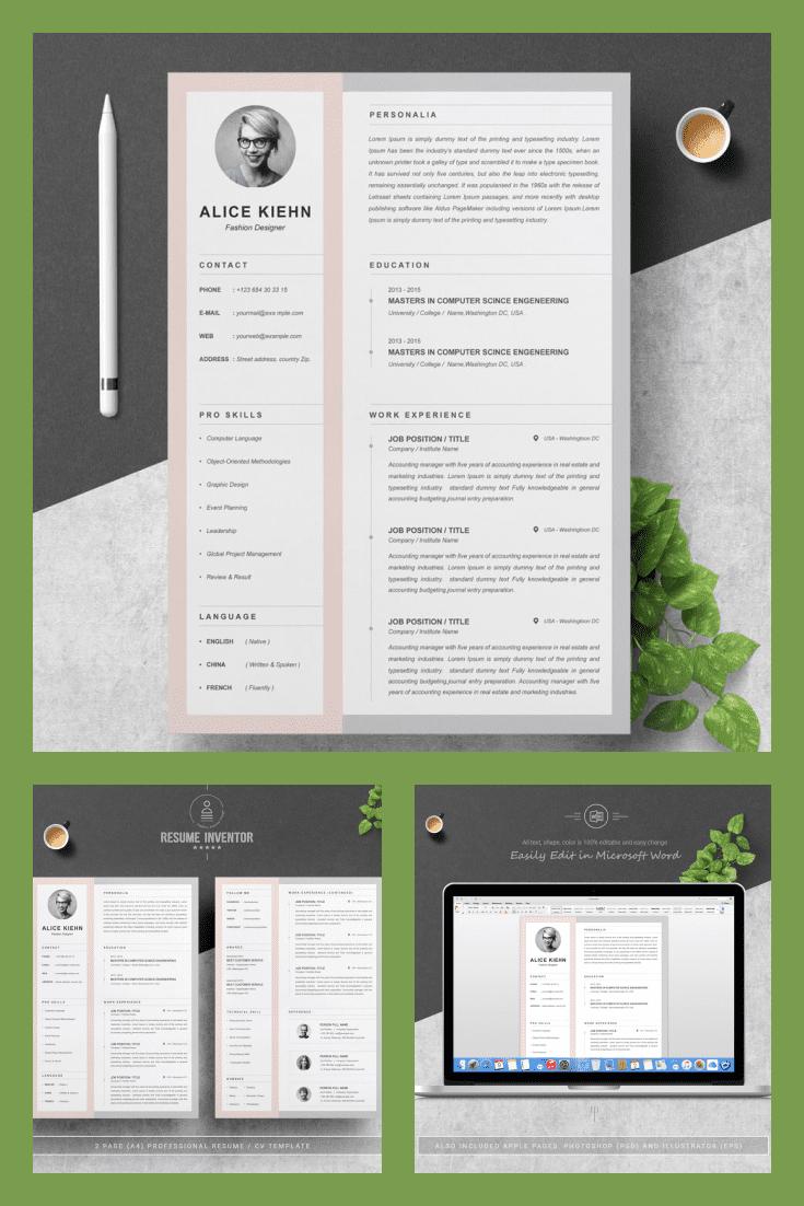 CV Template Curriculum Vitae - MasterBundles - Pinterest Collage Image.