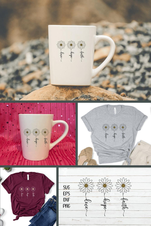 Faith Hope Love SVG Cutfile - MasterBundles - Pinterest Collage Image.