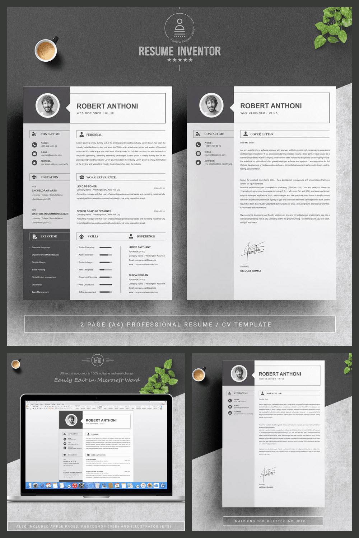 Simple Resume / CV Template - MasterBundles - Pinterest Collage Image.