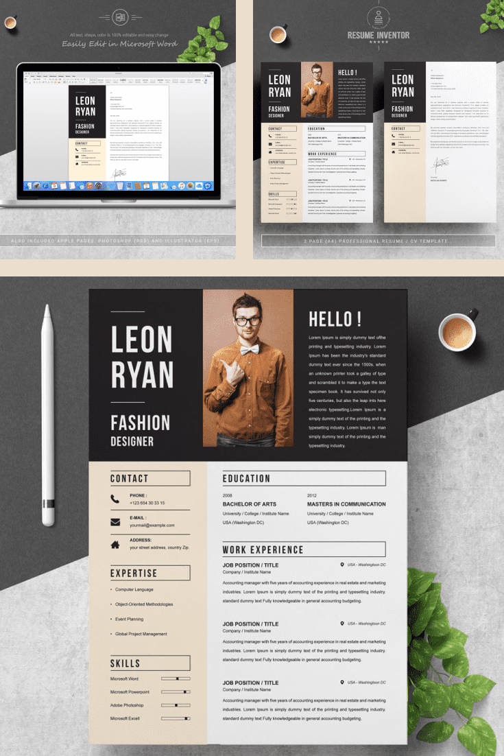 The Best Resume Template - MasterBundles - Pinterest Collage Image.